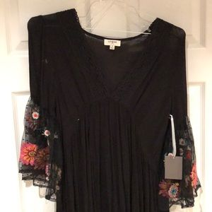 Black Tunic with Floral Sleeves